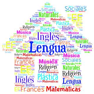 Grammazzle Herramiento web 2.0 Tagul Dibujo de un colegio con palabras asignaturas lengua matemáticas inglés naturales sociales ef francés música plástica