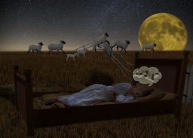 Counting sheep to fall asleep.