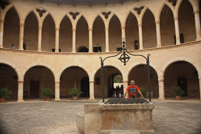 Circular courtyard of Bellver Castle in Palma de Mallorca