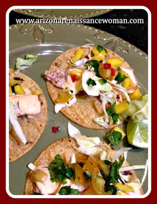 Smoked Swordfish Tacos with Mango Salsa and Cholula Aioli