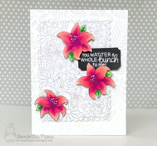 Floral Card by Samantha Mann | Blooming Botanicals Stamp Set + Framework Die Set by Newton's Nook Designs #newtonsnook