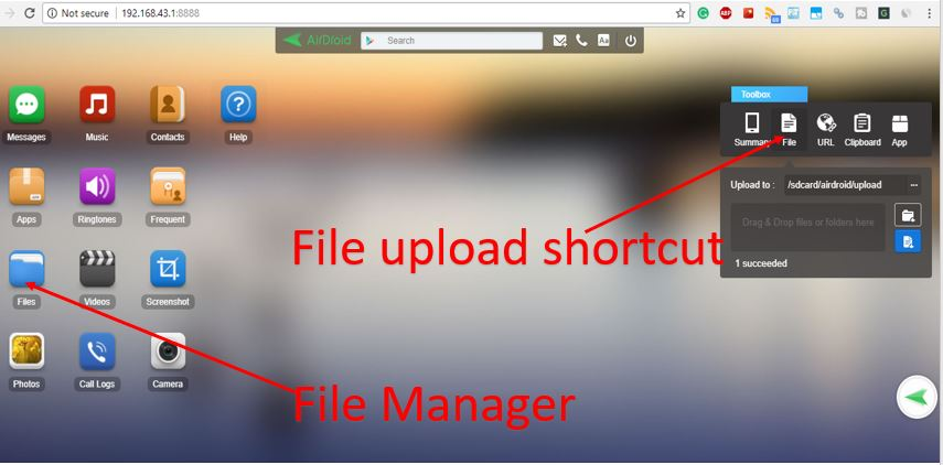 transfer file using airdroid from Android phone to personal computer