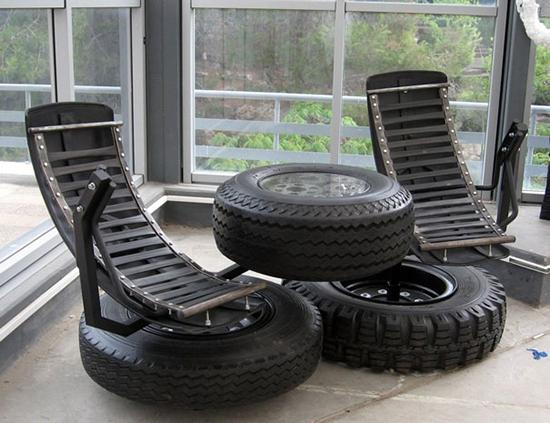 contoh kursi dari ban bekas