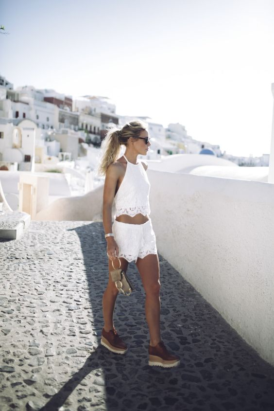 Happily Grey - Santorini Lace Scalloped Shorts + Halter