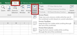 Tutorial Cara Membekukan kolom dan baris pada Excel
