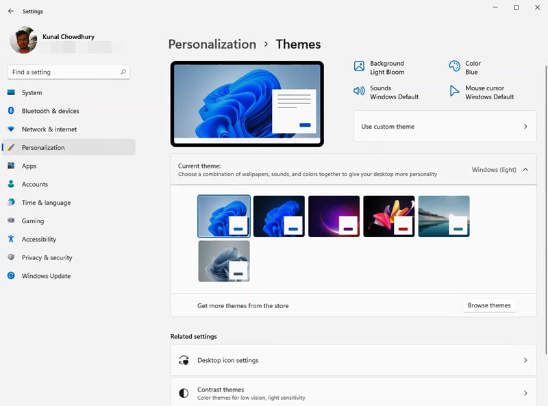 A quick look to Windows 11 Settings app - Personalization - Themes
