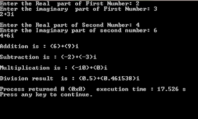 complex number class example c++ code