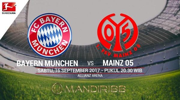 Prediksi Bola : Bayern Munchen Vs Mainz 05 , Sabtu 16 September 2017 Pukul 20.30 WIB