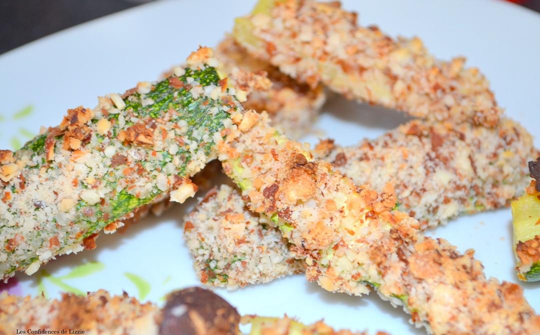 recette healthy - recette avec des amandes - comment paner ses aliments sans huile - courgette au four