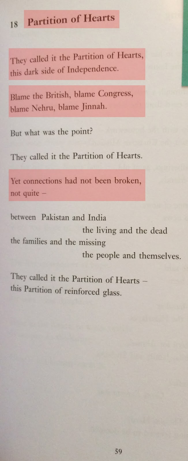 Major Project: Moniza Alvi - At the time of Partition (poem