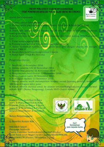 Lomba Menulis Puisi Tema Ibu - POETRY PUBLISHER & SSAN