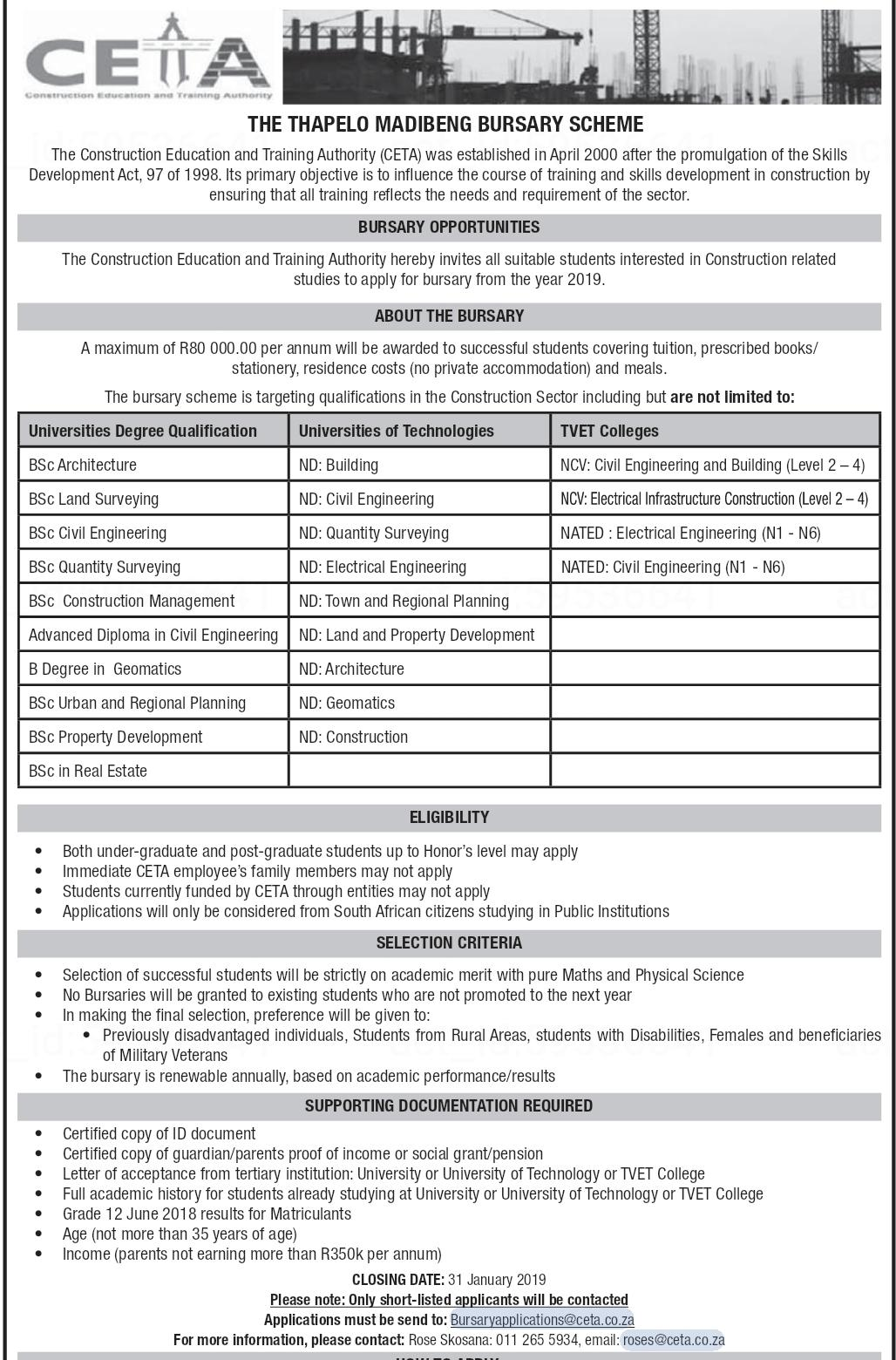 civil engineering and construction bursaries
