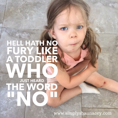"hell hath no fury like a toddler who just heard the word ""no"""