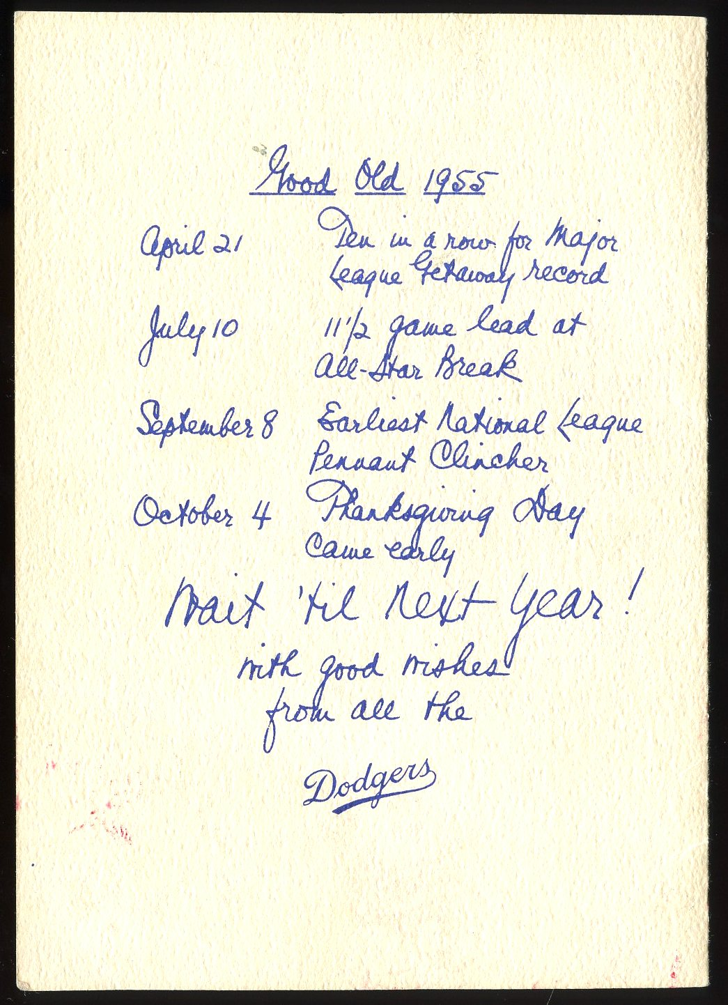 A Dodger Christmas Card and a Letter to a Fan at BST Auctions
