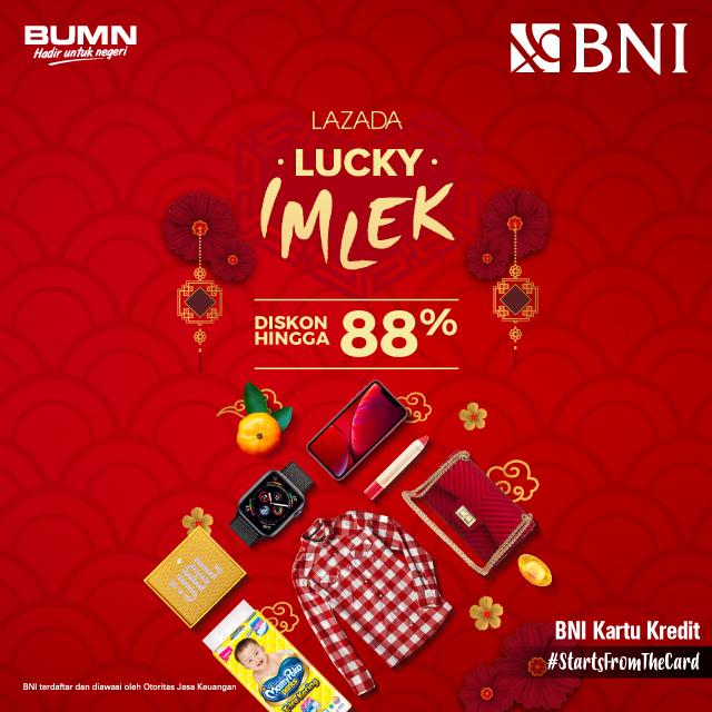 #BankBNI - #Promo #Voucher Diskon LAZADA Lucky IMLEK s.d 88% (31 Jan - 06 Feb 2019)