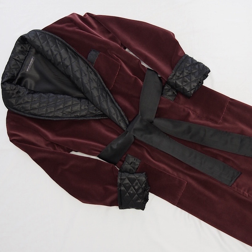 Burgundy Velvet Dressing Gown with Quilted Black Silk