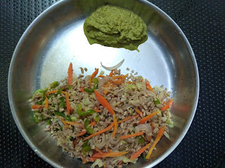 Fried rice with Maappillai samba beaten rice,  Coriander-Mint Chutney