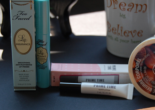 Too faced lip insurance and bare minerals eye lip primer