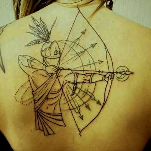 Sagittarius zodiac symbol bow and arrows tattoo on back ideas