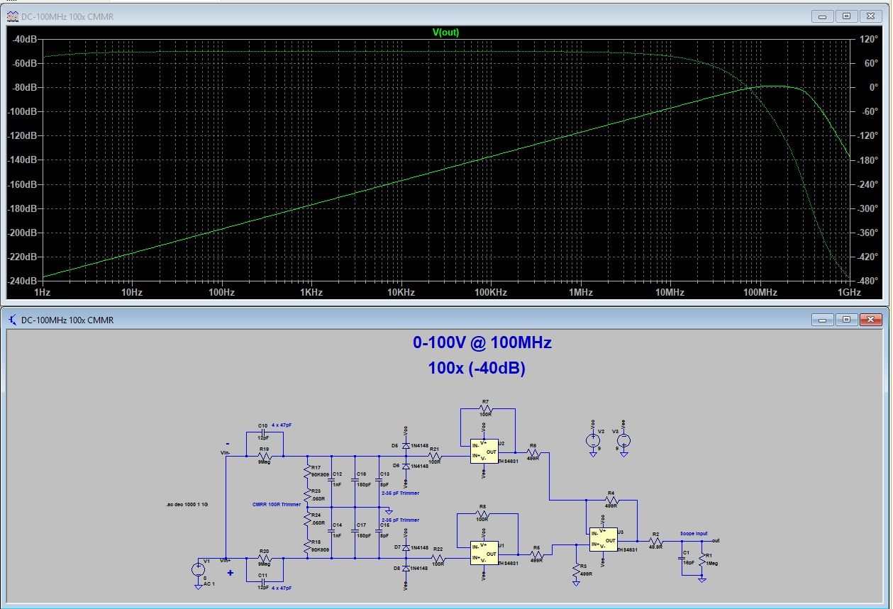 Pauls Diy Electronics Blog Differential Amplifier Probe Make Operational Schematic Im Not An Expert But This Looks Pretty Good To Me A Possible Caveat Is That Ltspice May Do Cmr Simulations Very Well