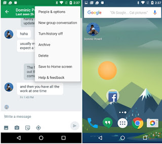 save to home screen hangouts