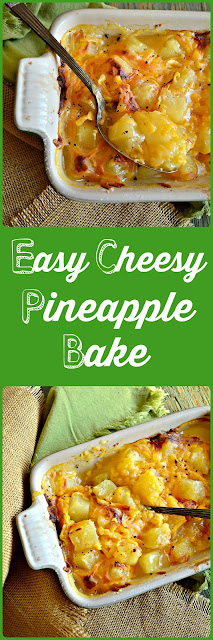 This easy, cheesy pineapple bake has just 4 ingredients. It is simple and delicious and we've been making it for about 40 years! #pineapple #casserole www.thisishowicook.com