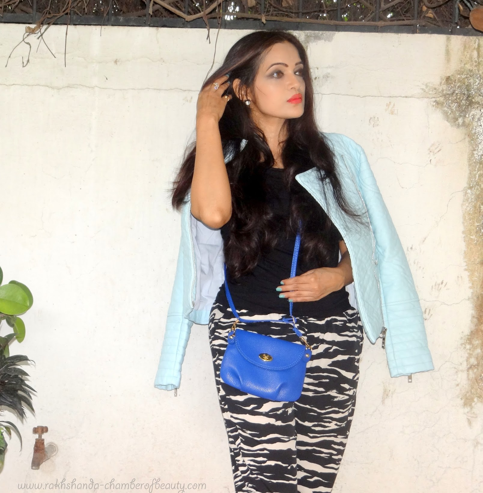 Comfortably Casual-OOTD | Styling a leather jacket, Pastel blue leather jacket, Stylemoi leather jacket, fashion trend, Indian fashion Blogger, Chamber of Beauty