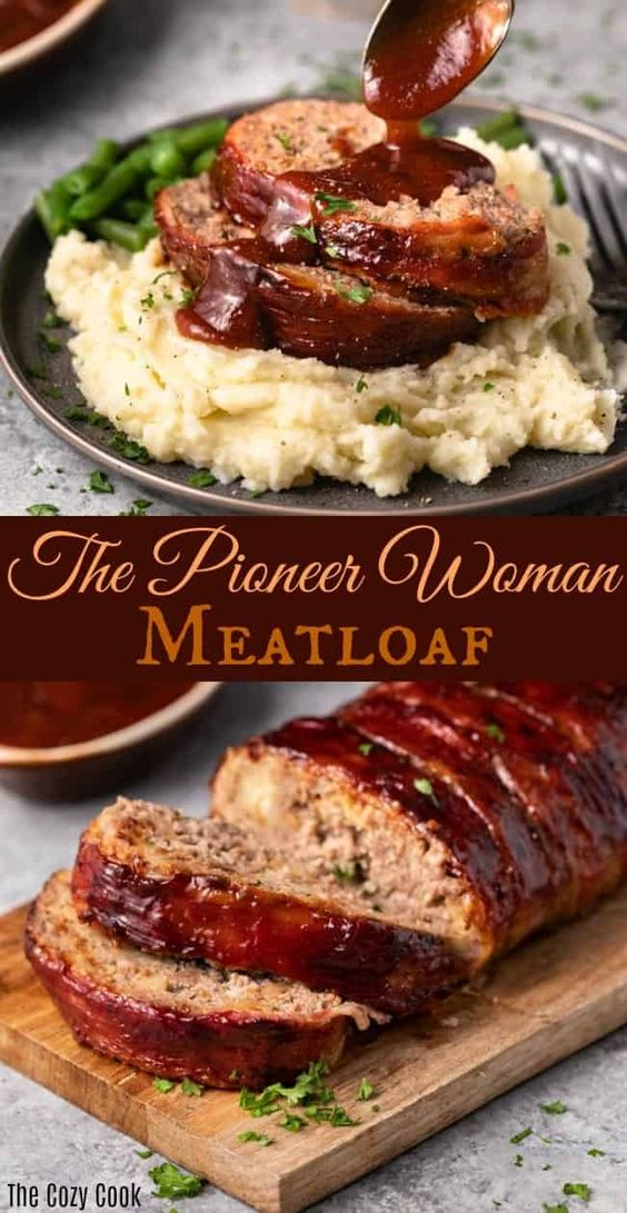 This Meatloaf Recipe from The Pioneer Woman is  the best you'll ever try! The the loaf itself is easy to make, and the bacon-wrapped exterior packs in so much flavor! It's brushed with a simple homemade sauce before being baked to perfection. Leftovers freeze perfectly well for future meals!