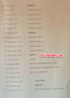 Revised calender for FUTO 2016/2017