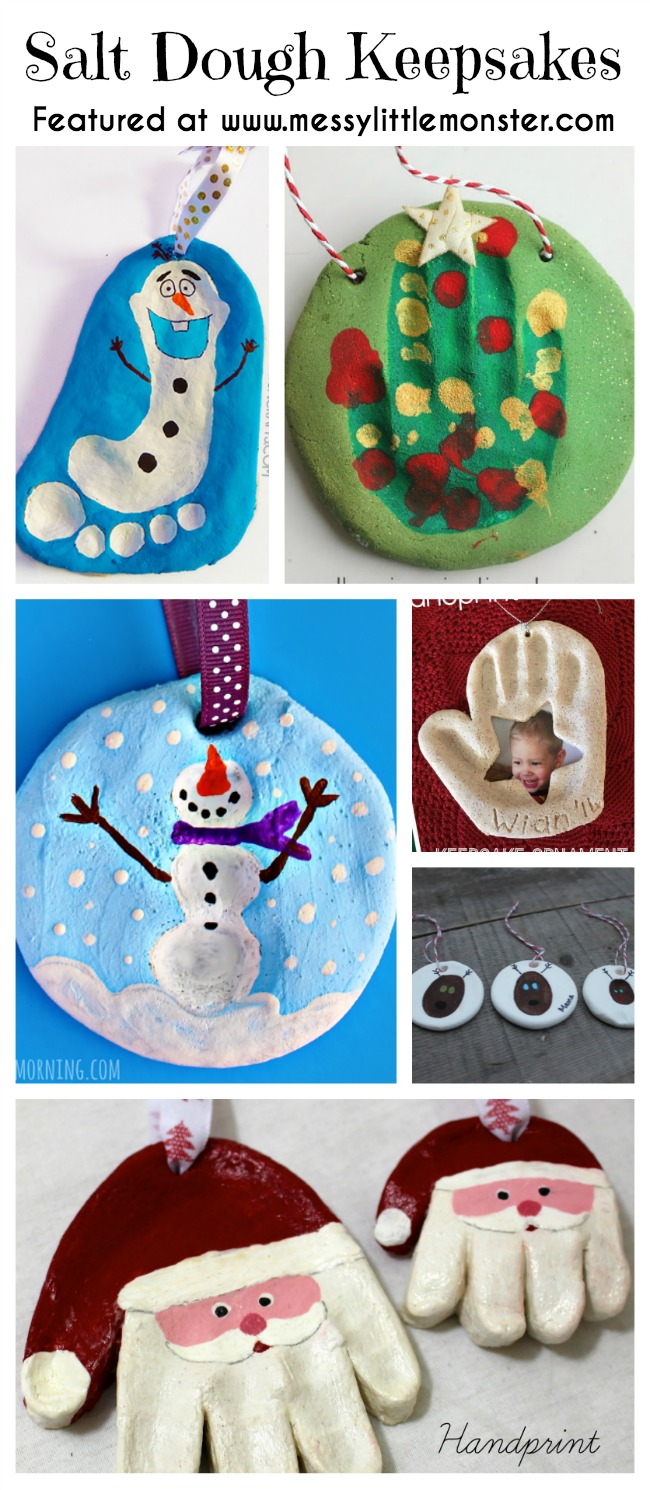 Christmas handprint, footprint and fingerprint Keepsakes made from salt dough.  Simple ornaments made by toddlers and preschoolers