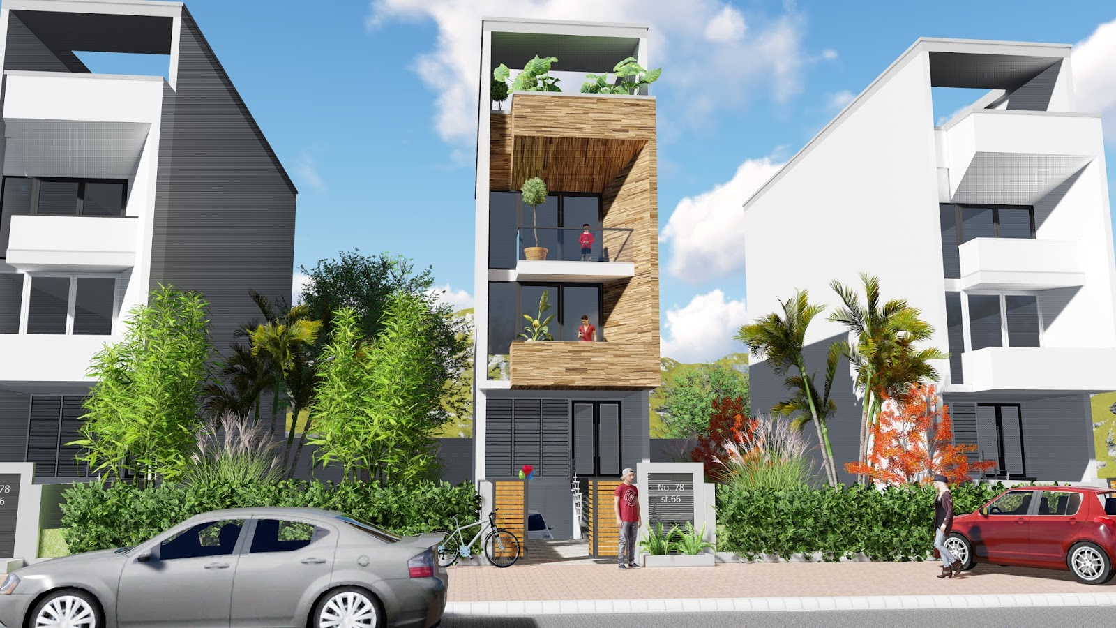 Nice Front Design Of Narrow House Part - 14: Sketchup 4 Stories Narrow House Design House Size 4,4x16m