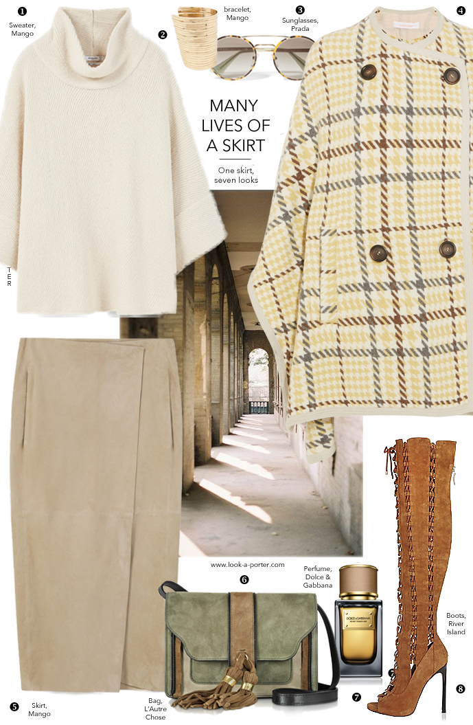 7 ways to style a suede neutral midi skirt, cape and laser-cut boots via www.look-a-porter.com style & fashion blog / outfit ideas & inspiration daily / featuring Mango, River Island, Prada, Dolce & Gabbana, See by Chloe & L'Autre Chose