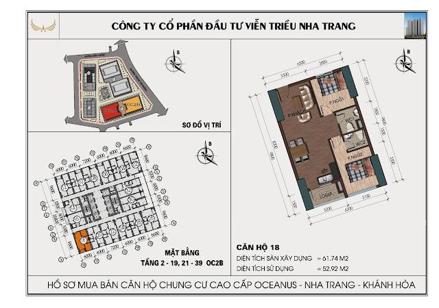 Sơ đồ căn hộ số 18 tòa OC2BViễn Triều Nha Trang