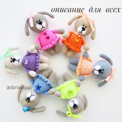 Собачки амигуруми в платьицах крючком