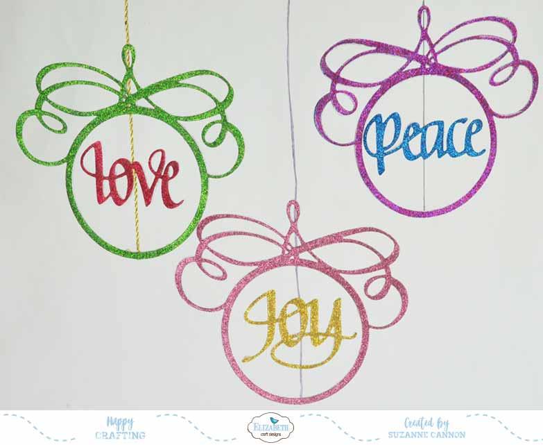 Elizabeth Craft Designs Love Joy Peace Christmas Ornament Die