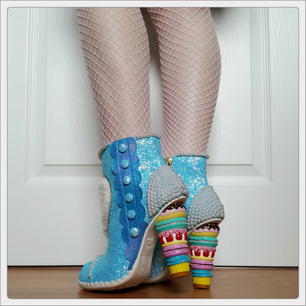 wearing Irregular Choice Bee Delicious macaron character heels