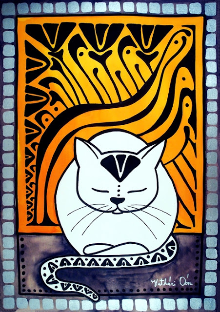 Cat painting titled Meditation by Dora Hathazi Mendes, Cats of Karavella Collection.