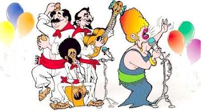 Dibujo de personas cantando y tocando por el Día de la canción criolla