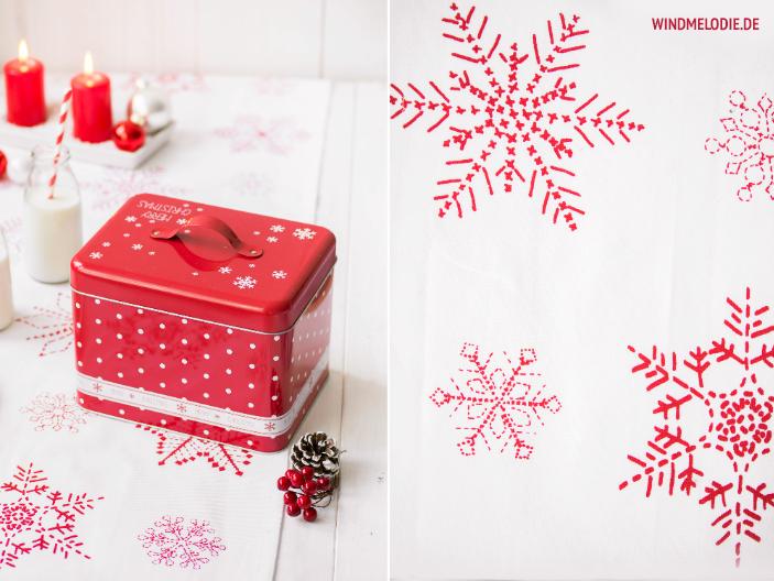 Weihnachten rote Keksdose Tischdeko Schneeflocken