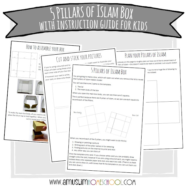 Box template and instruction guide for kids 5 Pillars of Islam activity