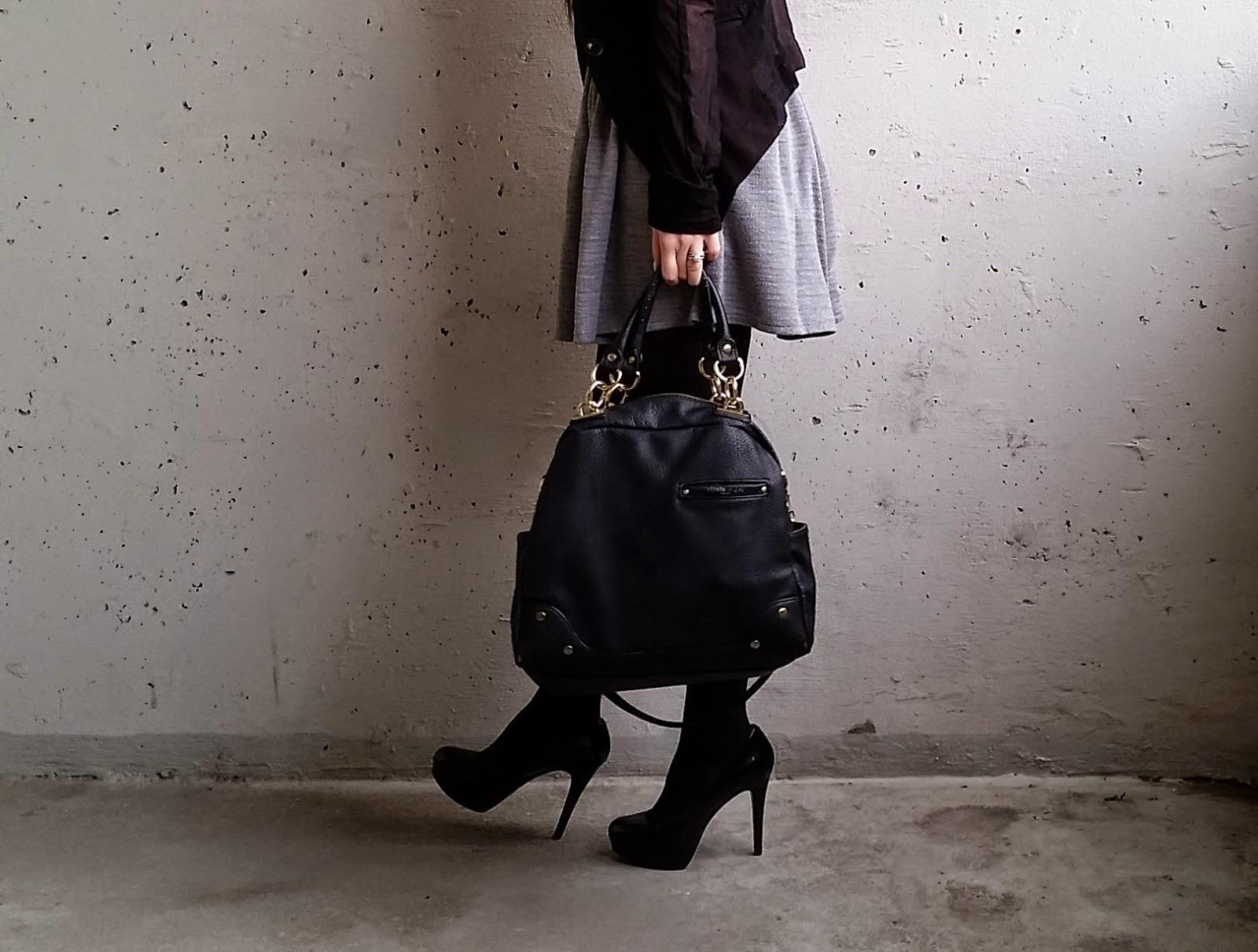 Grey dress, office wear, business casual