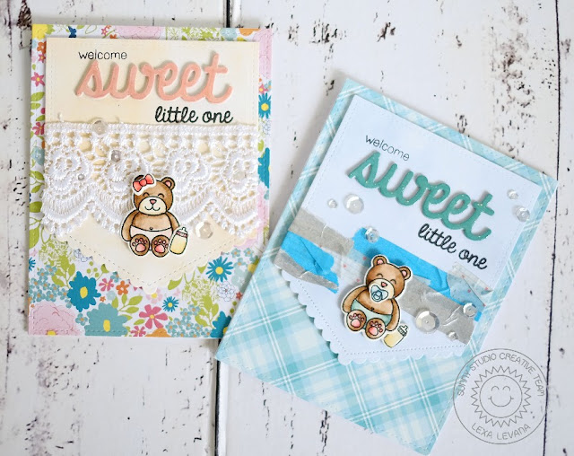 Sunny Studio Stamps: Baby Bear Girl & Boy Cards by Lexa Levana (using Fishtail Banners II & Sweet Word die)