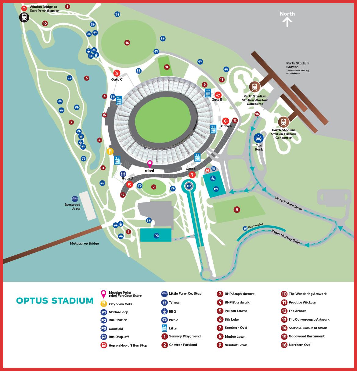 Optus Stadium Lights Tour: Optus Stadium Map