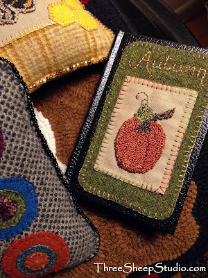 Punch Needle Embroidery on Wool by Rose Clay at ThreeSheepStudio.com