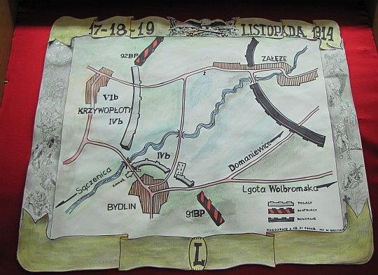 Mapa bitwy pod Krzywopłotami wykonana przez jednego z uczniów szkoły w Bydlinie.