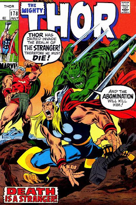 Mighty Thor #178, The Abomination attacks Thor from behind while the Stranger says Thor must die