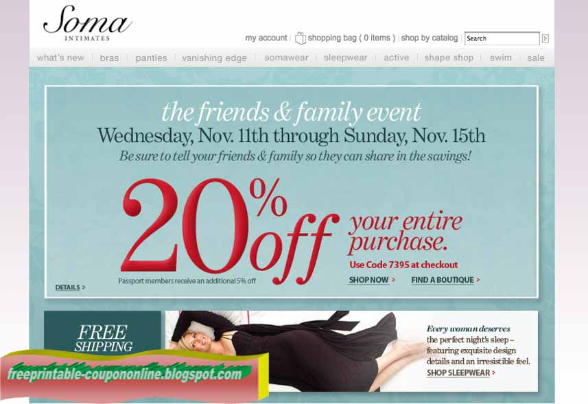 graphic regarding Soma Printable Coupon named Printable Coupon codes 2019: Soma Intimates Discount codes