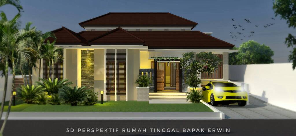 Desain Rumah 2 Lantai Bergaya Modern Tropis Lahan Menyudut 21