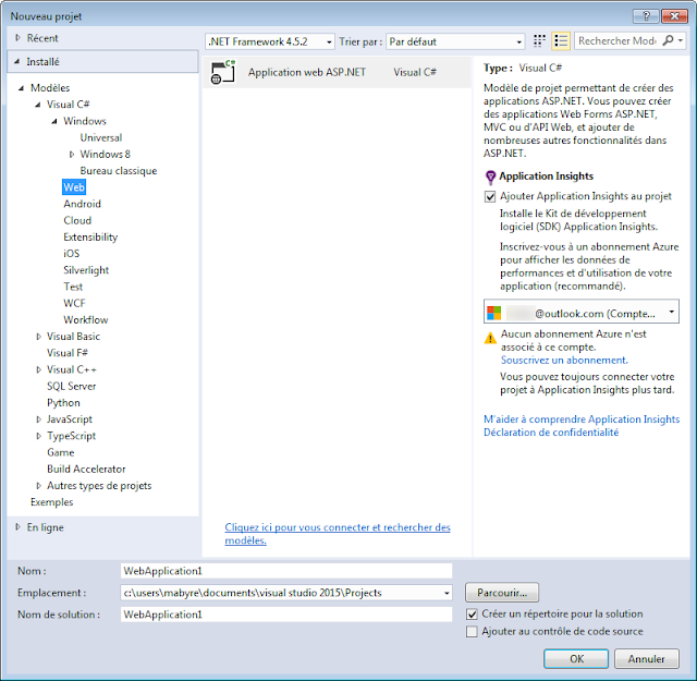 Visual Studio 2015 Community - Application Web dans l'Azure
