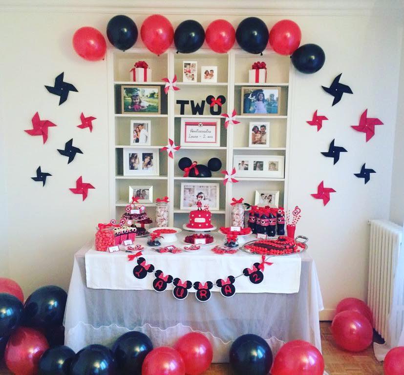 anniversaire décoration rouge et noir theme minnie